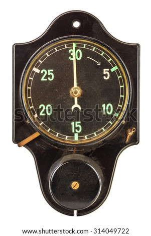 Ancient black minute timer with bell isolated on a white background - stock photo