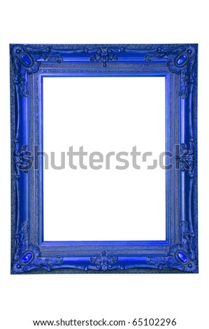 ancient blue frame - stock photo