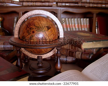Ancient books and globe