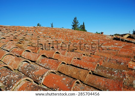 ancient brick-tile roof - stock photo