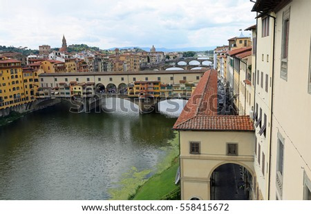 ancient bridge called Ponte Vecchio and Vasari Corridor in Florence Italy from Uffizi Museum