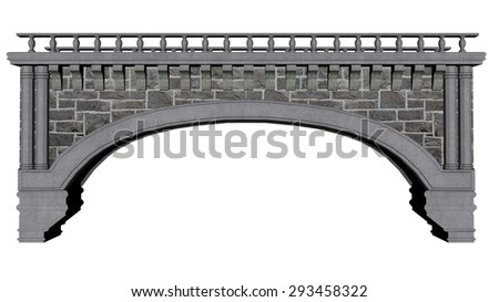 Ancient bridge isolated in white background - 3D render - stock photo
