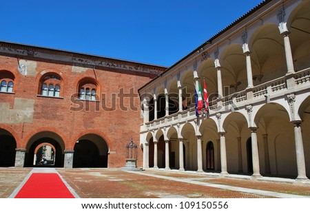 Ancient Broletto palace and courtyard, Novara, Piedmont, Italy - stock photo