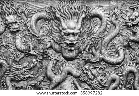 Ancient bronze dragons carving in the ancient Dragon King Temple along Yangtze River,China. Foreign text means King.