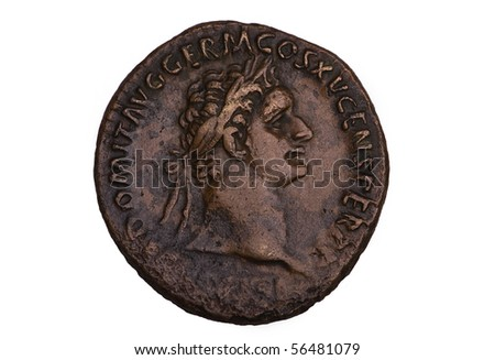 Ancient Bronze Roman Coin Domitian - stock photo