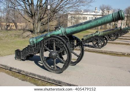 "Ancient bronze Saxon cannon 1618 ""Dog"" on a wheel gun carriage - stock photo"