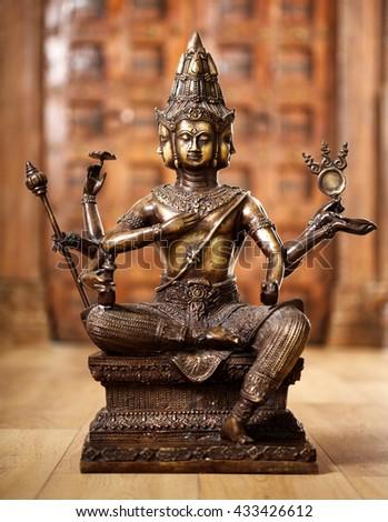 Ancient bronze statuette of the god Shiva - stock photo