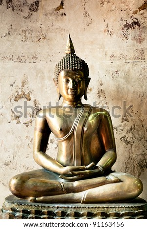 ancient buddha - stock photo