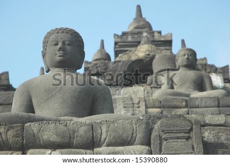 Ancient Buddha carving in Borobudur Indonesia - stock photo