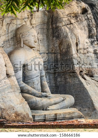 ancient buddha engraved   Sri lanka - stock photo