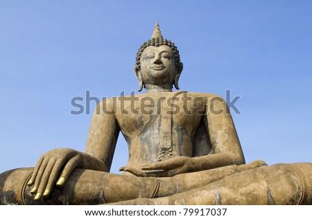 ancient buddha image statue at Sukhothai historical park Sukhothai province Thailand - stock photo