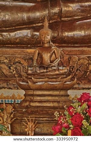 Ancient Buddha Image that made of gold and bronze in the temple