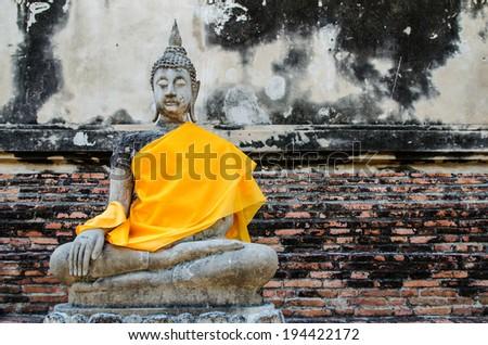 Ancient Buddha of Ayutthaya, Thailand - stock photo