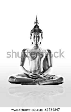 ancient buddha sculpture on white background - isolated - stock photo