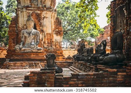 Ancient Buddha statue, in Ayutthaya, Thailand - stock photo