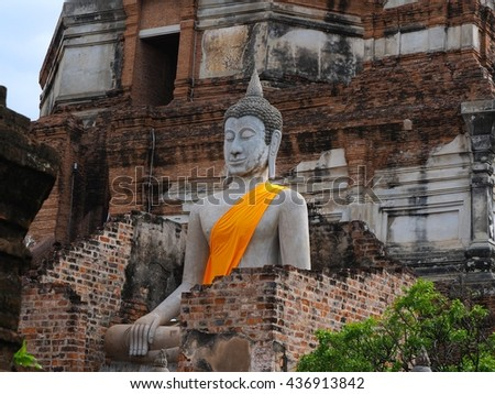 Ancient buddha statue in buddism temple. Ayuttaya, Thailand - stock photo