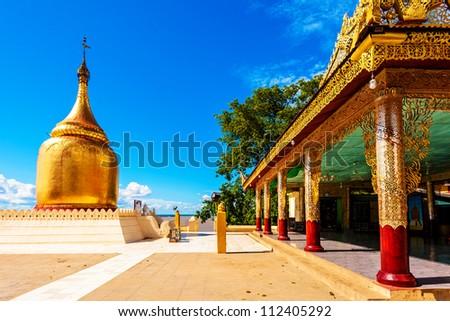 Ancient Buddhist temple, Buphaya Pagoda in Bagan, Myanmar. - stock photo