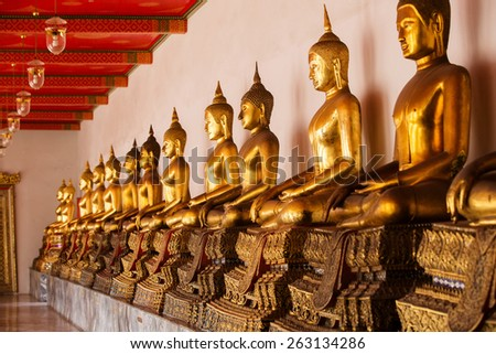 Ancient Buddhist temple, Wat Pho in Bangkok, Asia, Thailand - stock photo