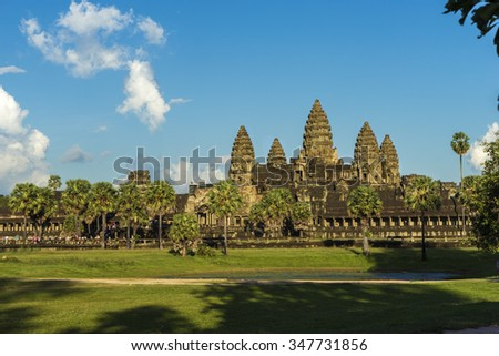 Ancient buddhistic temple Angkor wat in Cambodia - stock photo