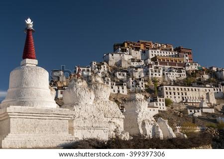 Ancient budhist stupas under Tikse monastery, Ladakh, India - stock photo