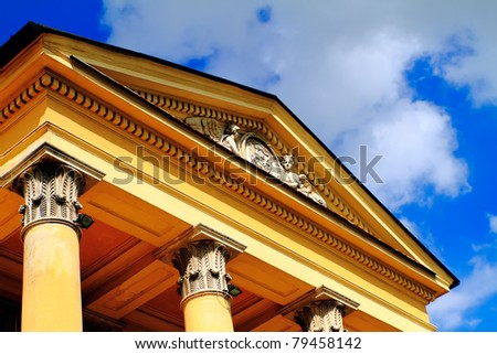 Ancient building with background beautiful blue sky - stock photo
