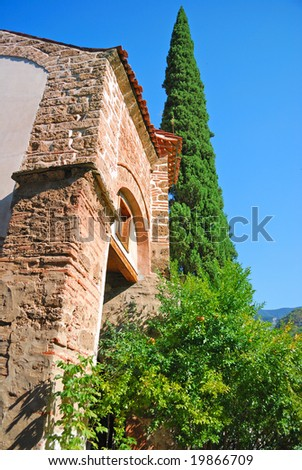 ancient buildings of monastery are in Bachkovo (Bulgaria). Detail - stock photo