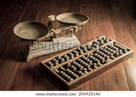Ancient business tools,old scale and abacus - stock photo