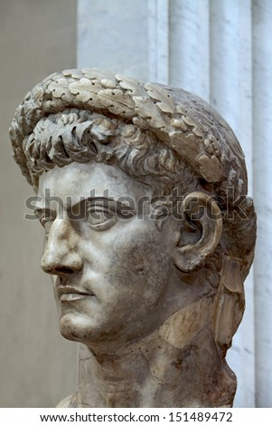 Ancient bust of the Roman emperor Claudius as Jupiter  - stock photo