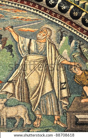 Ancient Byzantine mosaic depicting Abraham about to sacrifice Isaac. From the Unesco listed basilica of Saint Vitalis, in Ravenna, Italy - stock photo
