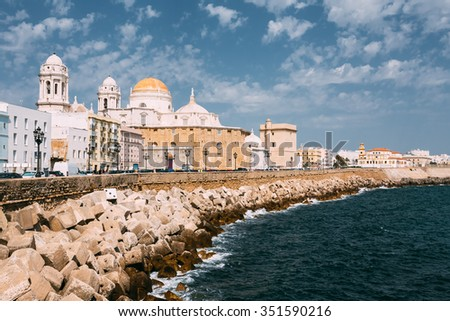 Ancient Cadiz city in southern Spain. Cadiz Cathedral and old town.