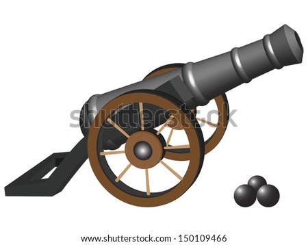 ancient cannon and iron balls against white background, abstract art illustration