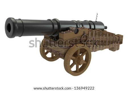 Ancient cannon on wheels. isolated white background. 3d - stock photo