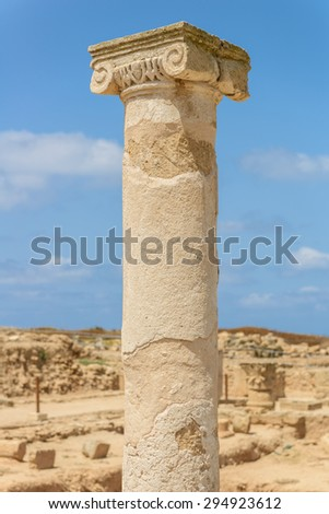 Ancient carved stone column at an archaeological site in Paphos, Cyprus. - stock photo