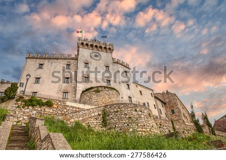 ancient castle in Rosignano Marittimo (Leghorn), medieval italian fortress in Tuscany, Italy - stock photo