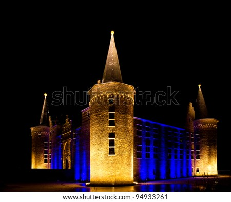Ancient castle with blue lighting