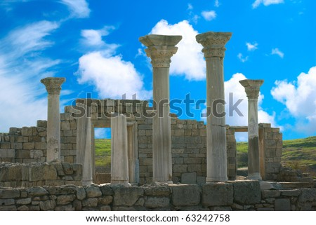 Ancient castle with columns and blue sky