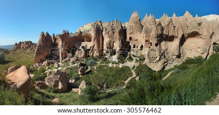 Ancient cave city of Zelve in Cappadocia, Turkey - stock photo