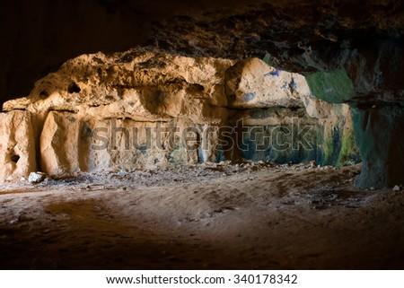 Ancient cave interior. - stock photo