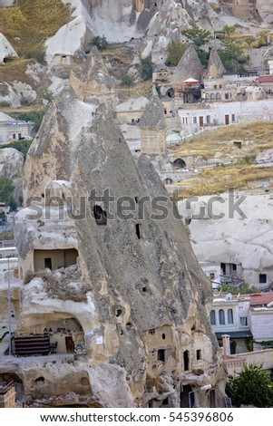 Ancient cave-town in Goreme, Cappadocia, Turkey