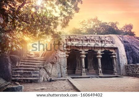 Ancient cave with columns in Mamallapuram complex, Tamil Nadu, India - stock photo