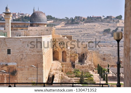 Ancient Cemetery view at Mount of Olives. Jerusalem - stock photo