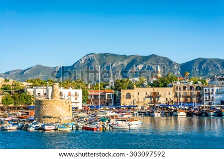 Ancient chain tower in Kyrenia (Girne) Harbour. Cyprus - stock photo