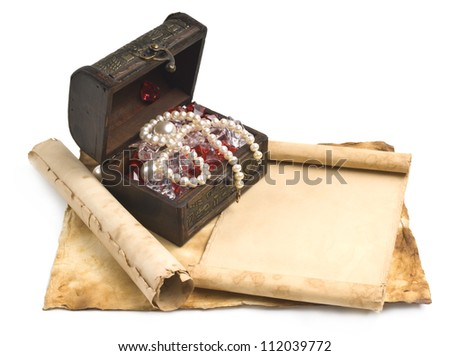 ancient chest with a paper