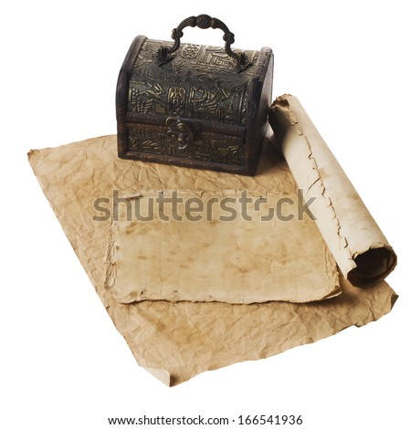 ancient chest with a paper - stock photo