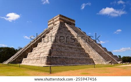 Ancient Chichen Itza Mayan Kukulcan pyramid in Mexico - stock photo