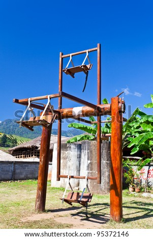 ancient china swing in pai district maehongson thailand - stock photo