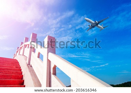 ancient Chinese architecture,blue sky,airplane
