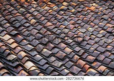 Ancient chinese traditional roof tiles of Sino-Portuguese house , Phuket Old Town, Thailand - stock photo