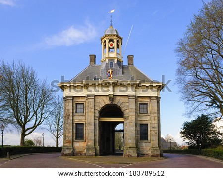 Ancient city gate in the western part of the fortress wall Enkhuizen, Netherlands - stock photo
