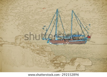 ancient city in Kekova and a boat with turkish flag, Antalya, Turkey.Travel background illustration. Painting with watercolor and pencil. Brushed artwork. - stock photo